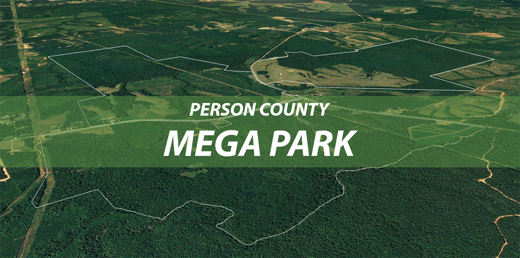aerial 3D image of the boundaries of the Person County Mega Park with proposed site plan overlaid